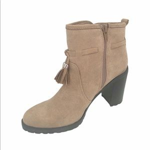 Jacklyn Smith Heeled Ankle Boots Taupe with Tassel